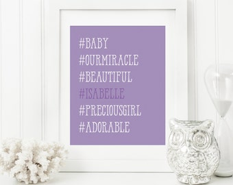 Hashtag Nursery Art - Hashtag Baby Art - Personalized Nursery Decor - Custom Baby Art - Personal Baby Gift - Hashtag Wall Art Print