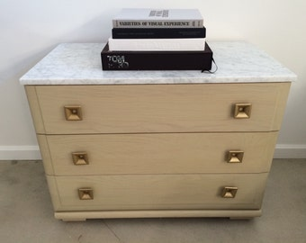 MENGEL Dresser Mid Century Modern Chest of Drawers Commode Solid Oak Wood Marble Top Storage Vintage Clean Inside And Out