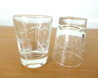Two bamboo etched shot glasses
