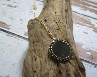 Swarovski necklace, 14k, swarovski pendant, gold necklace, black swarovski, black necklace, everyday black necklace, stone neck