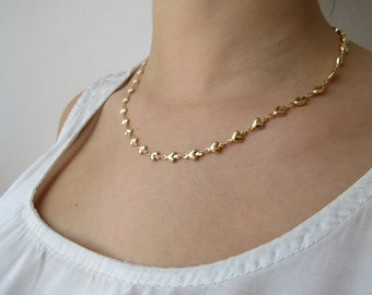 Gold chain, gold necklace, hearts necklace, delicate necklace,  thin gold necklace, dainty gold necklace, minimalist necklace