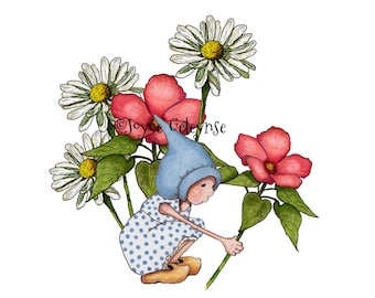 Clipart, Printable, Hand Drawn, Gnome Girl in Flower Garden, Springtime, Daisies, Original Fantasy Art, Commercial Use, Instant Download