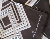 """Brown White Leonardi Poly Scarf 12"""" x 54"""" Long"""