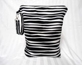 Wet Bag Stand Up Large Black and White Stripe Zipper Handle for Children Babies Toddler Diaper Bag Pouch Shower Gift Waterproof Swim Bag