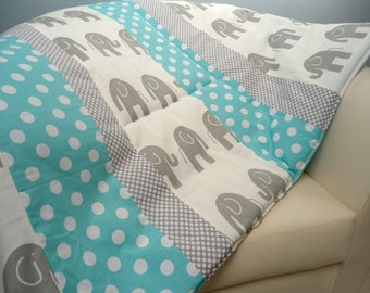 "Baby Play Mat Padded Floor Blanket Monogrammed Gray Elephants Modern Quilt Boys Tummy Time Newborn Gift Baby Shower Nap Mat 35"" x 35"""