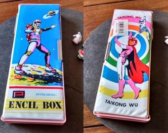 NEW UNUSED sci fi anime manga cartoon pencil case box vintage 80s double sided neon vinyl cover pencil case retro 90s Grad Father's day gift