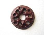 Raku pendant, ceramic mandela pendant, pierced pendant