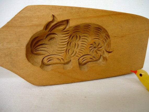 Bunny butter mold cookie hand carved wooden