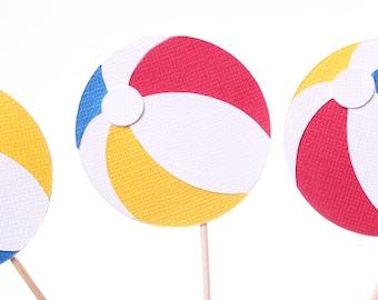Beach Ball Cupcake Toppers - Beach Cupcake Toppers - Summer Cupcake Toppers - Summer Party Picks - Beach Theme Party - Summer Food Picks