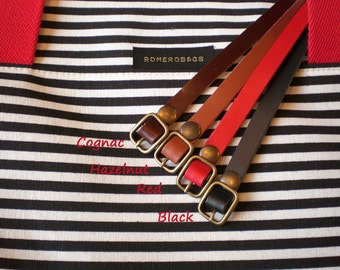 "Contemporary and stylish leather belt  ,width 1cm / 0.4"" Super Skinny . Cognac, hazelnut, black, red."