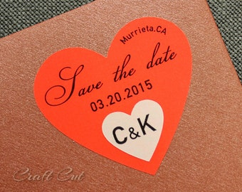 24 Neon Save the date labels | Neon heart stickers | Personalized heart labels | Bright wedding stickers | Neon wedding | Neon party