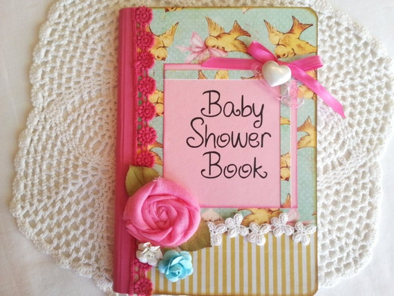 baby shower book in vintage aqua pink and yellow by avirgindesign