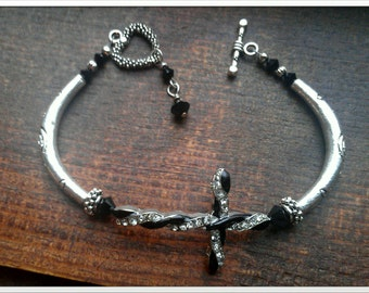 Twisted Sideways Cross Bracelet