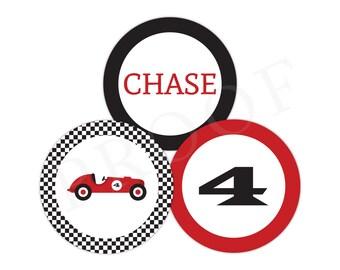 3-Inch Racecar Stickers (Racecar Birthday, Racecar Party, Racecar Party Circle, Race Car Party, Red Vintage Racecar, Personalized Sticker)