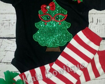 Christmas Tree outfit- Onesie, Leg warmers, Matching bow