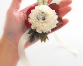 Womans Wrist Corsage-Womens Wedding Corsage-Sola Flower Corsage-Country Wedding-MARSALA Collection