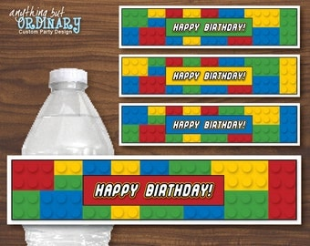 Building Blocks DIY Birthday Water Bottle Labels, INSTANT DOWNLOAD, digital printable file
