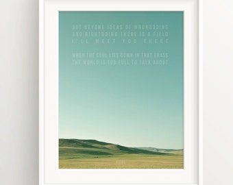 "Rumi Print - ""Out beyond ideas of wrongdoing..."" -Quote - Field and Sky"