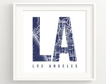 Los Angeles Vintage Map Print - LA - Hollywood, Santa Monica, Beverly Hills,