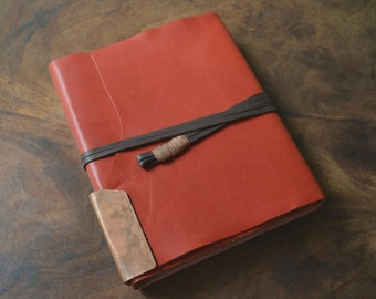 Red Lisaro Leather Bound Elegant Handmade to Order Travel Journal Personalized Diary (396B)