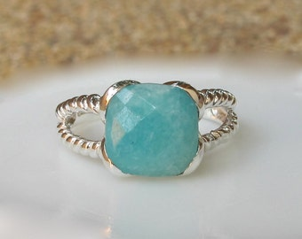 Double Band Amazonite Ring- Aqua Green Statement Ring- Solitaire Double Rope Band Ring- Blue Green Gemstone Ring- Square Cushion Shape Ring