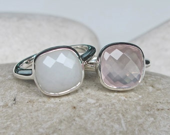 Stack Gemstone Ring- White Agate Ring- Rose Quartz Ring- Statement Ring- Rings for Her- Unique Gifts- Square Ring