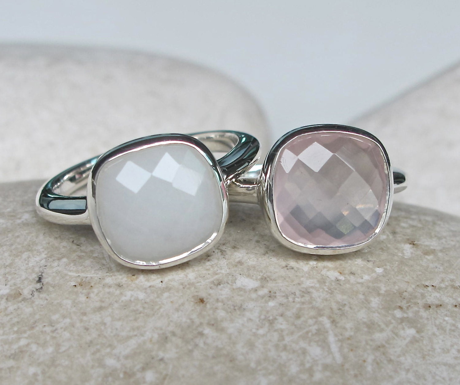 stack gemstone ring white agate ring quartz ring