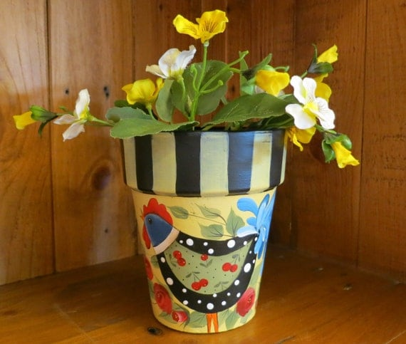 Hand Painted herb pot with charming rooster and roses tolepainting artwork