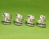 Gryffindor, Slytherin, Ravenclaw, or Hufflepuff - Choose ONE Hand Stamped Aluminum Wrap Ring