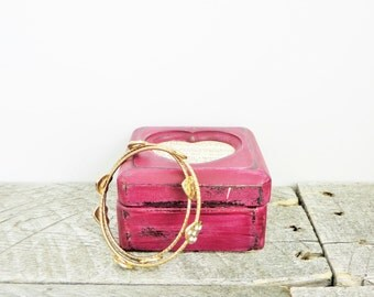 Little Upcycled Jewelry Box - Vintage Heart Box - Wedding Ring Box - Marsala Burgundy
