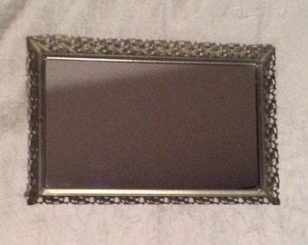 "Vintage Long Rectangle Goldtone Filigree Mirrored Vanity Tray, Perfume Tray, Jewelry Tray, Wall Hanging, 14"" X 9 1/4"""
