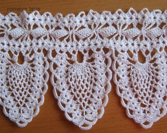 "Handmade lace crochet trim ""pineapple"",crochet edging,  white lace"
