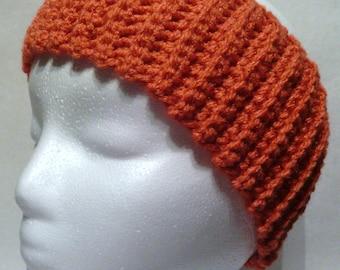 Crochet Ribbed Headband Burnt Orange Ear Warmer, Fall Winter Accessory, Teen, Adult, Women, handmade UT Texas color, Texas Longhorn inspired