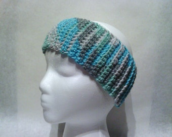 Crochet Ribbed Headband -Gray and Blue Mix- Ear Warmer, Fall and Winter Accessory, Teen, Adult, Women