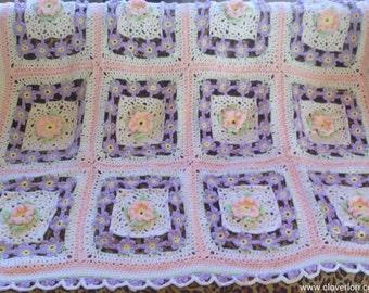 Crochet Flower Afghan Blanket, Throw, Pastel Pink, Purple, Green, Yellow