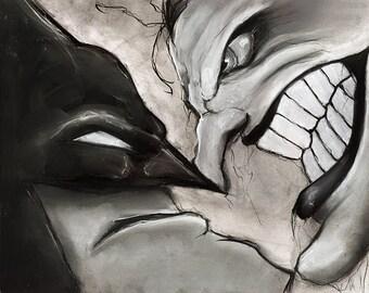 Batman and Joker comic book illustration charcoal pastel giclée fine art wall print 8x10