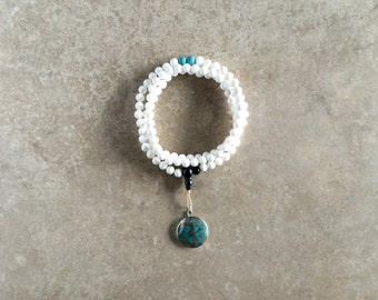 Conch Shell Mala with Turquoise & Om Pendant