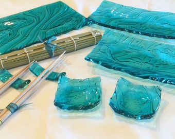 Fused Glass Sushi Set (for 2)- Koi design in Aqua. (Made to Order)