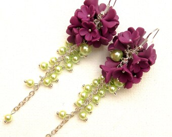 Flower Earrings, Wedding Earrings, Violet Earrings, Pearl Earrings, Romantic Earrings, Dangle Earrings, Wedding Jewelry, Handmade Earrings
