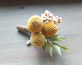 Rustic Boutonniere, Yellow Billy Balls & green Boutonniere, Craspedia boutonniere, groomsman Boutonniere