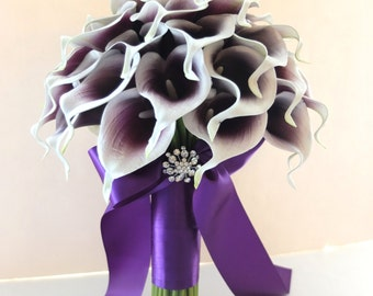 White & Plum/Purple Calla Lily bouquet, Bridal Bouquet, wedding bouquet, **bridesmaid bouquet