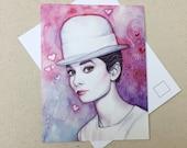 Audrey Hepburn Postcard, Watercolor Painting, Portrait Art