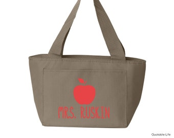 Teacher Apple Name Personalized Insulated Lunch Cooler Tote // Solid or Glitter Vinyl