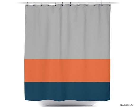 Orange Navy Stripe Color Block Shower By QuotableLife