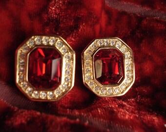 Vintage Swarovski Emerald Cut Faux Ruby Clip Earrings