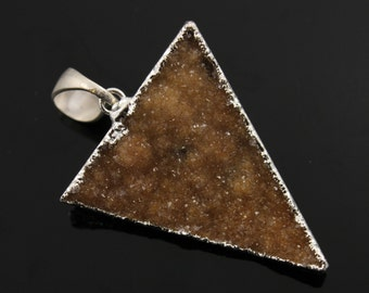 Dazzling Druzy Triangle Pendant in Stunning Earth Tones, Silver Plated, 30x34mm, A+ Gorgeous Quality, Electroplated Edge (SS-DZY/TRI/127)