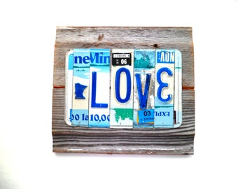 Anniversary Gift,Minnesota Love Sign,Blue and White Sign,Reclaimed Metal Sign,Reclaimed Wood Sign,Rustic Wedding Decor,MN Love Decor