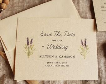 Lavender Save The Date Lavender Wedding Invitation