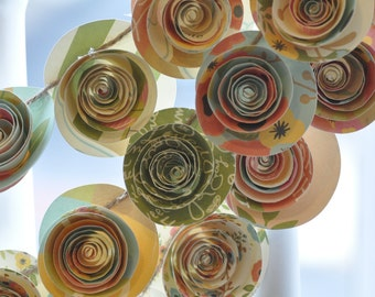 Tea party Paper Flower Garland- shower, birthday party, nursery garland
