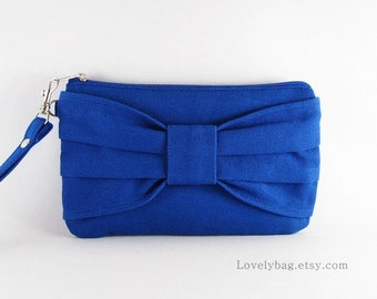 SUPER SALE - Royal Blue Bow Clutch - iPhone 5 Wallet, iPhone Wristlet, Cell Phone Wristlet, Cosmetic Bag, Zipper Pouch - Made To Order